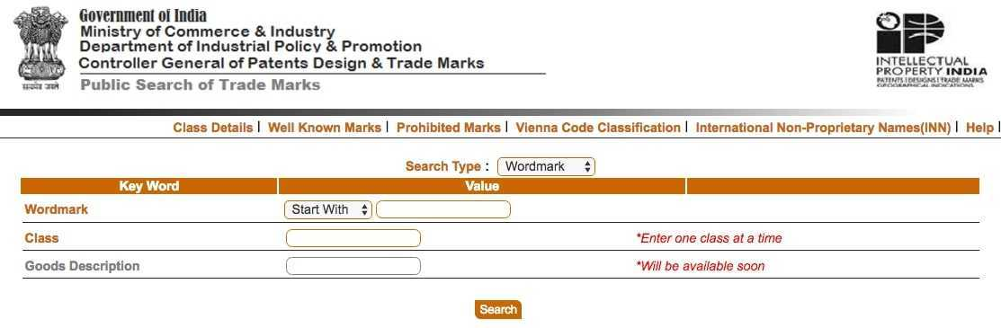 Trademark Search, Trademark Public Search, Brand, Name, Status, TM, TMR Public Search, Registration, Registry, IP, India, NIC, Online, Free