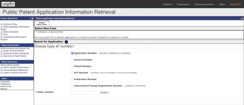 Public patent application information